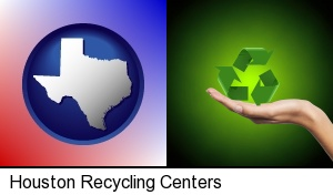 a recycling symbol in Houston, TX