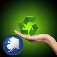 alaska map icon and a recycling symbol