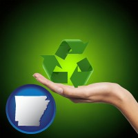 arkansas map icon and a recycling symbol
