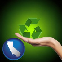 california map icon and a recycling symbol
