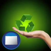 colorado map icon and a recycling symbol