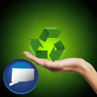 connecticut map icon and a recycling symbol