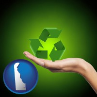 delaware map icon and a recycling symbol