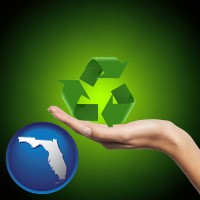florida map icon and a recycling symbol