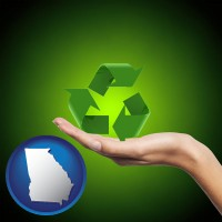 georgia map icon and a recycling symbol