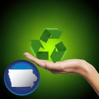 iowa map icon and a recycling symbol