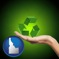 idaho map icon and a recycling symbol