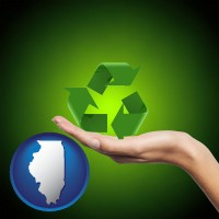 illinois map icon and a recycling symbol