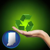 indiana map icon and a recycling symbol