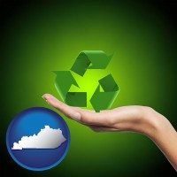 kentucky map icon and a recycling symbol