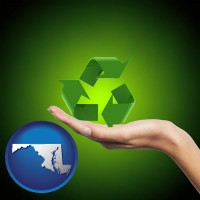 maryland map icon and a recycling symbol
