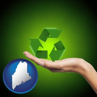 maine map icon and a recycling symbol