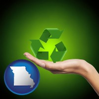 missouri map icon and a recycling symbol