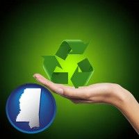 mississippi map icon and a recycling symbol
