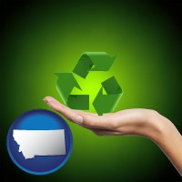 montana map icon and a recycling symbol