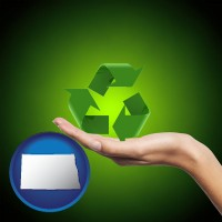 north-dakota map icon and a recycling symbol