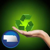 nebraska map icon and a recycling symbol