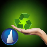 new-hampshire map icon and a recycling symbol
