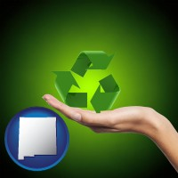 new-mexico map icon and a recycling symbol