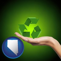 nevada map icon and a recycling symbol