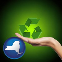new-york map icon and a recycling symbol