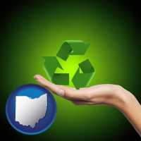 ohio map icon and a recycling symbol