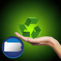 pennsylvania map icon and a recycling symbol