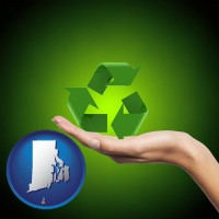 rhode-island map icon and a recycling symbol