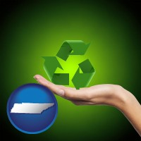 tennessee map icon and a recycling symbol
