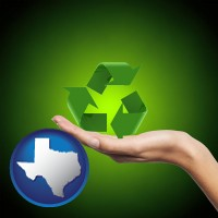 texas map icon and a recycling symbol
