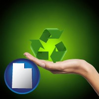 utah map icon and a recycling symbol
