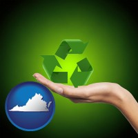 virginia map icon and a recycling symbol