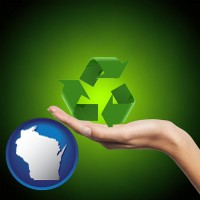 wisconsin map icon and a recycling symbol