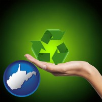west-virginia map icon and a recycling symbol