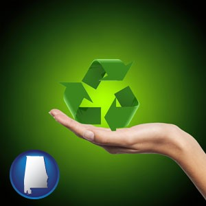 a recycling symbol - with Alabama icon