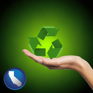 a recycling symbol - with California icon