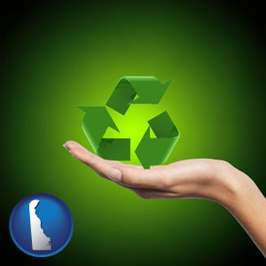 a recycling symbol - with Delaware icon
