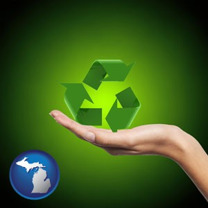 a recycling symbol - with Michigan icon