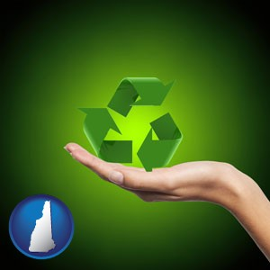 a recycling symbol - with New Hampshire icon