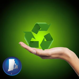 a recycling symbol - with Rhode Island icon