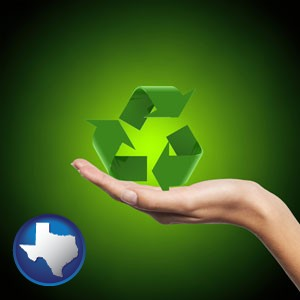 a recycling symbol - with Texas icon